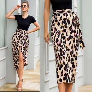 XENA leopard print midi skirt
